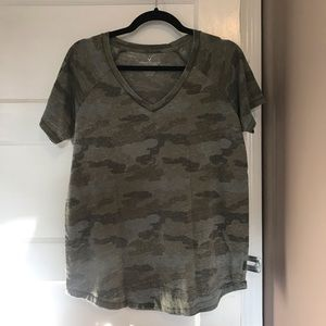 American Eagle Outfitters Tops - Army Print VNeck Tee | AEO
